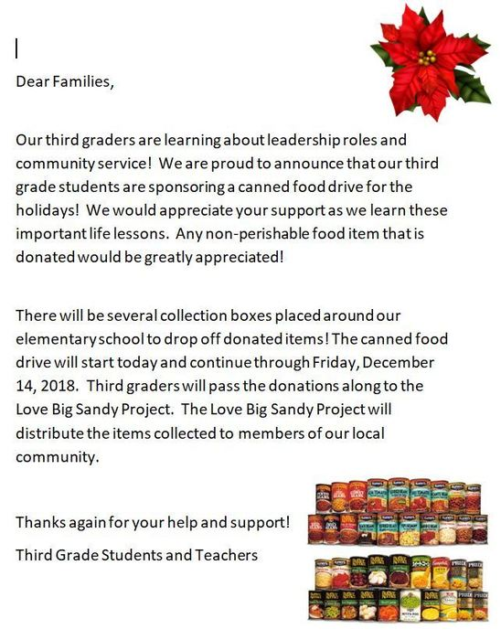 FOOD DRIVE LETTER